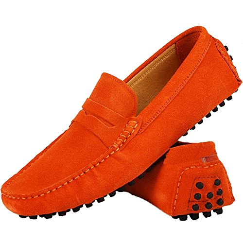 Leather low loafers Orange Santimon Comfort Outdoor Genuine Slipper Shoes Moccasin Running Men's Nubuck Casual Boat wpxUX