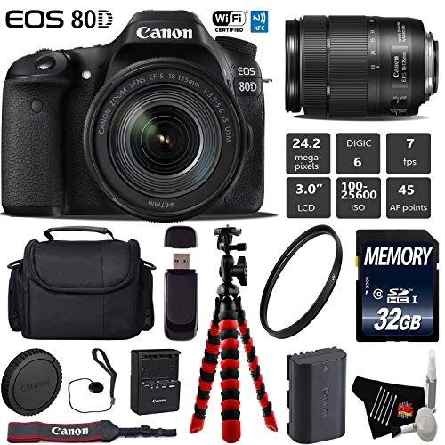 Canon EOS 80D DSLR Camera with 18-135mm is STM Lens + Flexible Tripod + UV Protection Filter + Professional Case + Card Reader - International Version -  6Ave