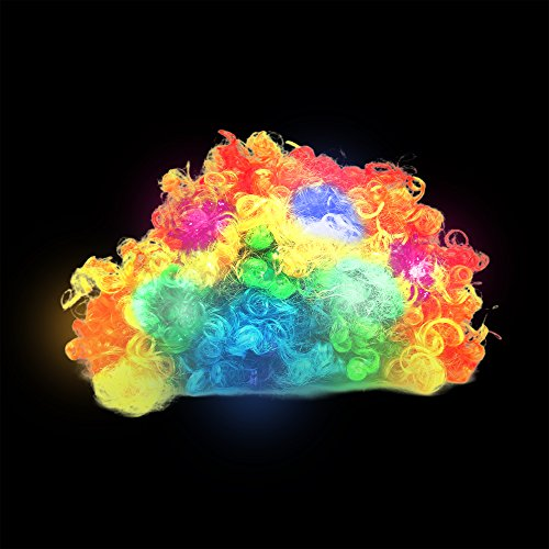 Fun Central AD152, 1 Pc Rainbow Colored LED Light Up Wig, Afro Wig, Afro Curly Hair, Cosplay Wig, Rainbow Wigs for Kids -