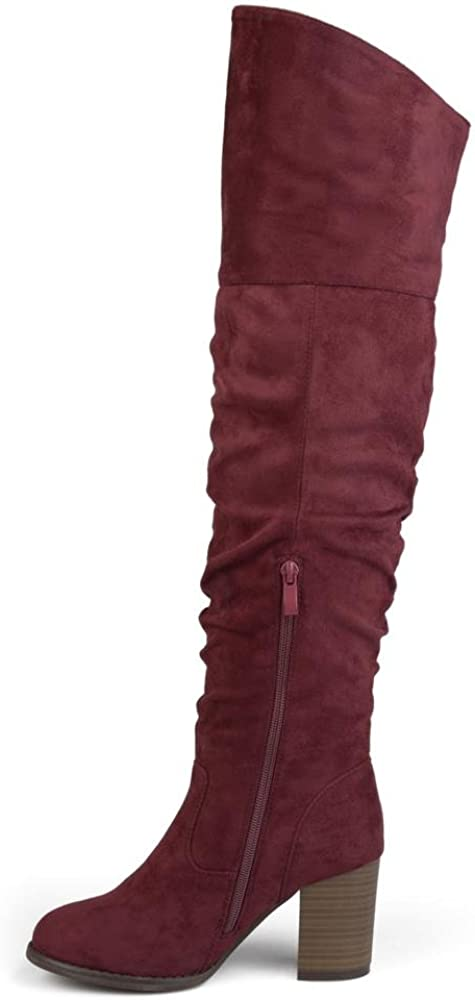 9 Extra Wide Calf US Womens Regular Wide Calf and Extra Wide Calf Ruched Stacked Heel Faux Suede Over-The-Knee Boots Wine Brinley Co