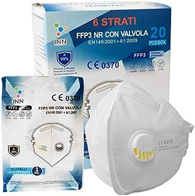 Mascherine ffp3 con valvola certificate ce mascherina 6 strati confezionate singole filtraggio 99% 20 pezzi B08Q4JQXZM