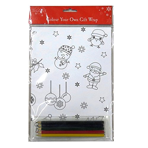 Colour Your Own Christmas Gift Wrap, with 5 Colour (Snowman Coloring Sheet)