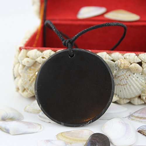 Shungite Pendant Necklace: Guaranteed Authentic Russian Natural Healing  Stone from Karelia (Circle)