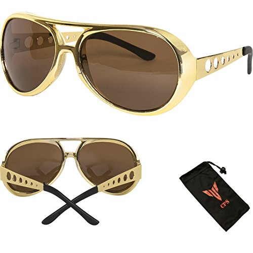 Gold Mens Disco Shoes (Men Women Costume Shade Sunglasses)
