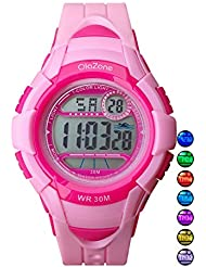 Kids Watches Girls Boys Digital 7-Color Flashing Light Water Resistant 100FT Alarm Gifts for Girls Boys Age 4-10 481 (Pink)