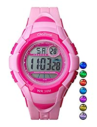 Kids Watch Digital Girls 7-color Flashing Light Water Resistant 100FT Alarm Watch for age 4-10 (PINK)