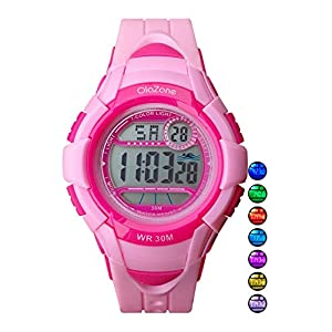 Kids Watches Girls Digital 7-Color Flashing Light Water Resistant 100FT Alarm Gifts for Girls Age 4-10 481 (Pink)