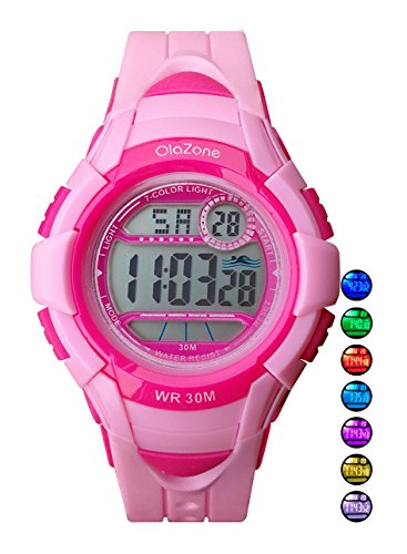 Price comparison product image Kids Watches Girls Digital 7-Color Flashing Light Water Resistant 100FT Alarm Watch for Kid Age 4-10 481 (Pink)