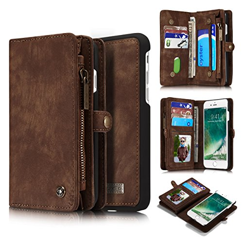 iPhone 7 Case,AKHVRS Handmade Premium Cowhide iPhone 7 Folio Leather Wallet Phone Case,Zipper Wallet Case and Detachable Magnetic Case  Card Slots fo…