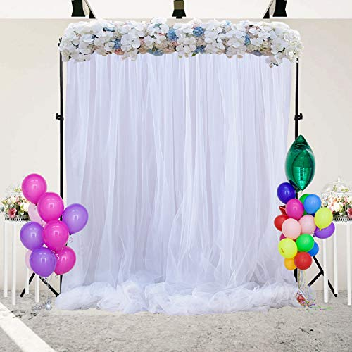 (White Tulle Backdrop Curtain for Parties Wedding Baby Show Birthday Party Photo Booth Decorations 5 ft X 7)