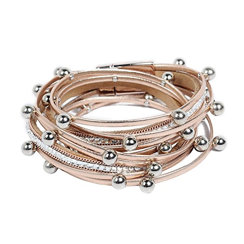 Artilady Shinning wrap Clasp Bangle for Women (Rose -