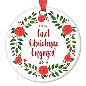 "First Christmas Engaged Ornament 2018 Seasonal Floral Wreath Gift Idea for Engagement Party Porcelain Keepsake Future Mr & Mrs Present 3"" Flat Ceramic Collectible w Red Ribbon & Free Gift Box OR00072 23"