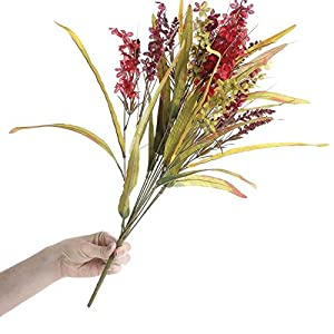 Factory Direct Craft Bountiful Artificial Autumn Red, and Burgundy Delphinium and Wild Grass Floral Bundle for Centerpieces, Designing and Displaying 2