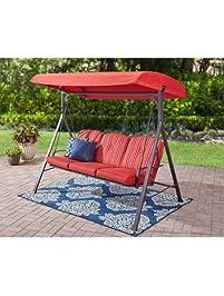 3 seat cushion porch u0026 patio swing stripe red forest hills