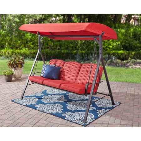 Superior Mainstays 3 Seat Cushion, Porch U0026 Patio Swing, Stripe Red