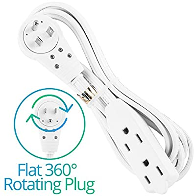 Maximm Cable 8 Ft 360° Rotating Flat Plug Extension Cord / Wire, Multi Outlet Extension Wire, 3 Prong Grounded Wire - White