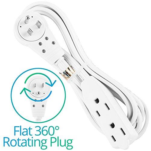 maximm cable 8 ft 360 rotating flat plug extension cord. Black Bedroom Furniture Sets. Home Design Ideas
