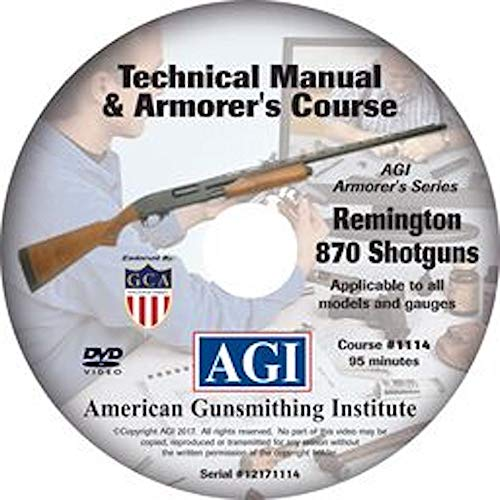 American Gunsmithing Institute Armorer's Course Video on DVD for Remington 870 Shotgun - Technical Instructions for Disassembly, Cleaning, Reassembly and More from American Gunsmithing Institute