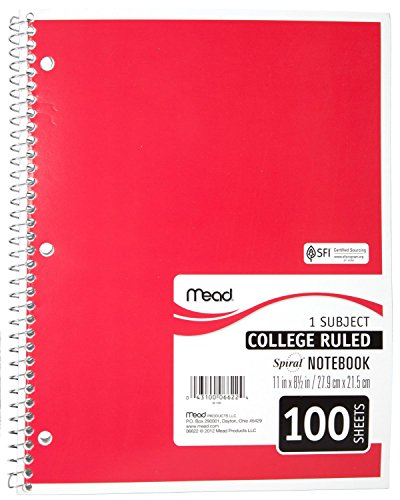 043100066224 - Mead Spiral Notebook, College Ruled, 1 Subject, 8.5 x 11, 100 Sheets, Assorted Colors (06622) carousel main 3