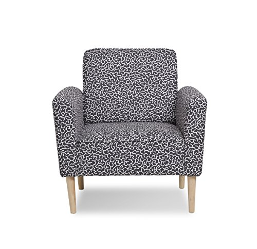 Container Furniture Direct Mia Collection Contemporary Patterned Fabric Upholstered Living Room Accent Chair, Black/White