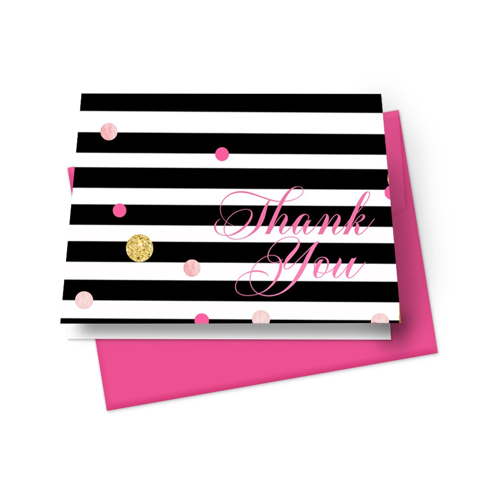 Black Stripe Folded Thank You Cards with Pink Envelopes - Set of 20 - Folded Stationery