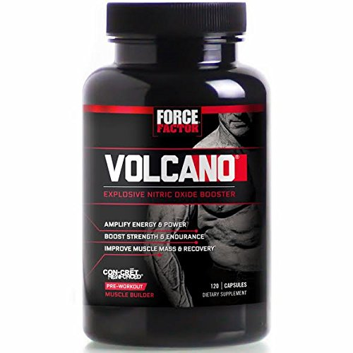 VolcaNO Pre-Workout Nitric Oxide Booster with Creatine, Boost Nitric Oxide, Energy, and Strength, Build Muscle, Better Pump, Force Factor, 120 Count (Fuel Pump Creatine)