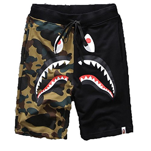 Athletic Pants Shark Pattern Camouflage Stitching Shorts Men Drawstring Sports Shorts - Bape Ape
