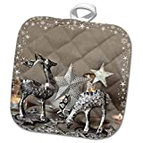 3dRose Andrea Haase Holiday Illustration - Deer with Star Frame Mixed Media Art Xmas Photography Collage - 8x8 Potholder (PHL_291699_1)