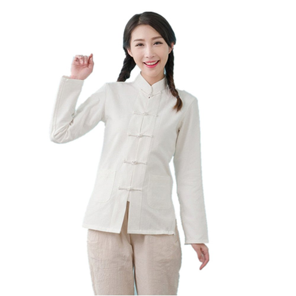 ZooBoo Womens Chinese Martial Arts Cotton Linen Long Sleeve Tang Suit Shirt Kungfu Tops (S, White)
