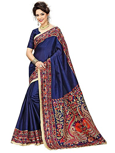 Women Sari Kalamkari Khadi Silk Saree With Unstitched Blouse (Blue)