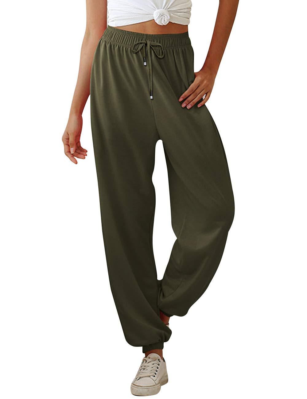 MoneRffi Drawstring Sweatpants with Pockets Womens Casual Oversized Jogging Joggers Tracksuit Bottoms Athletic Pants Drawstring Sweatpants with Pockets