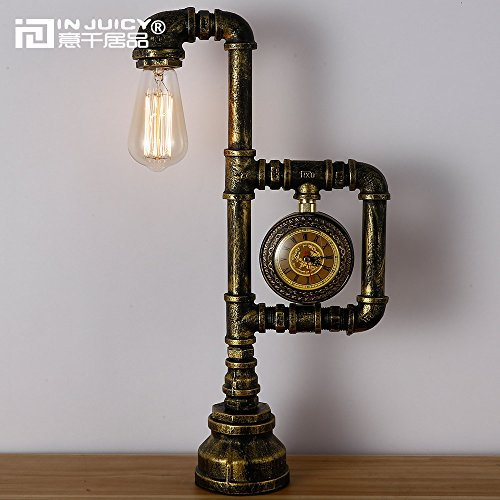 Injuicy Lighting Loft Vintage Industrial Water Pipe Table Lights Retro E27 Edison Wrought Iron Steampunk Desk Accent Lamps With Clock For Bar Cafe Bedside Aisle Decor