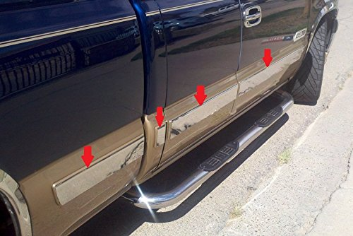 Made in USA! Works with 99-02 Chevy Silverado Extended Cab Insert Body Side Molding 3.5