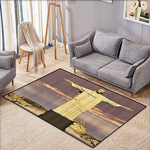 Floor Bath Rug Grandma Gifts Famous The Reedemer Statue Rio De Janeiro City Symbol of Monumental Architecture Sculpture Bath Decor Taupe Yellow Brown Quick and Easy to Clean W5'2 xL3'2 (Name Of The Statue In Rio De Janeiro)