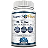Research Verified Hair Growth Support - with Biotin, DHT Blockers & Vitamins - Hair Growth and Hair Loss Prevention, 1 Bottle (1 Month Supply)