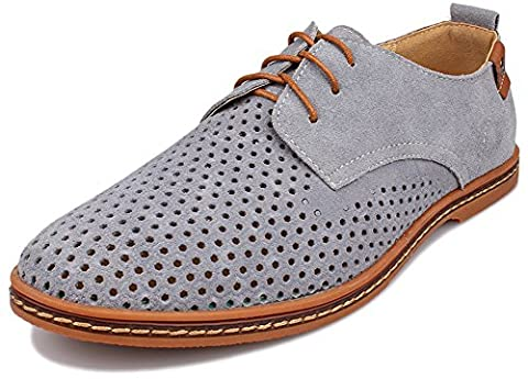 Kunsto Men's Leather Oxfords Dress Shoes Lace up Breathable Upper US Size 9.5 Grey - 2 Leather Casual Shoe