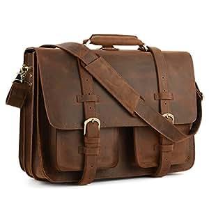 "Kattee XZ340DN-FBA Real Leather 16"" Laptop Briefcase Large Messenger Bag Backpack Handbag"