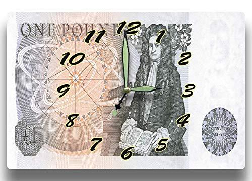 Customized Sir Isaac Newton Money Clock Bank of England Series 1978 1 British Pound 8 x 12 inch clock Mathematician Physics ()