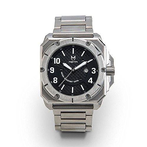 Meister Watches / Men's Chief MK2 | CH201SS | Silver & Black | Stainless-Steel Case and - Face Square Men