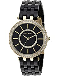 Anne Klein Women's AK/2620BKGB Swarovski Crystal Accented Gold-Tone and Black Resin Bracelet Watch