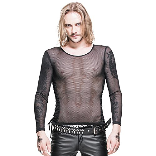 Devil Fashion Gothic Unisex Fischen Netz Perspektive Seil D¨¹nnes T-Shirt  Punk Langarm Shirt, 6 Gr??en: Amazon.de: Bekleidung