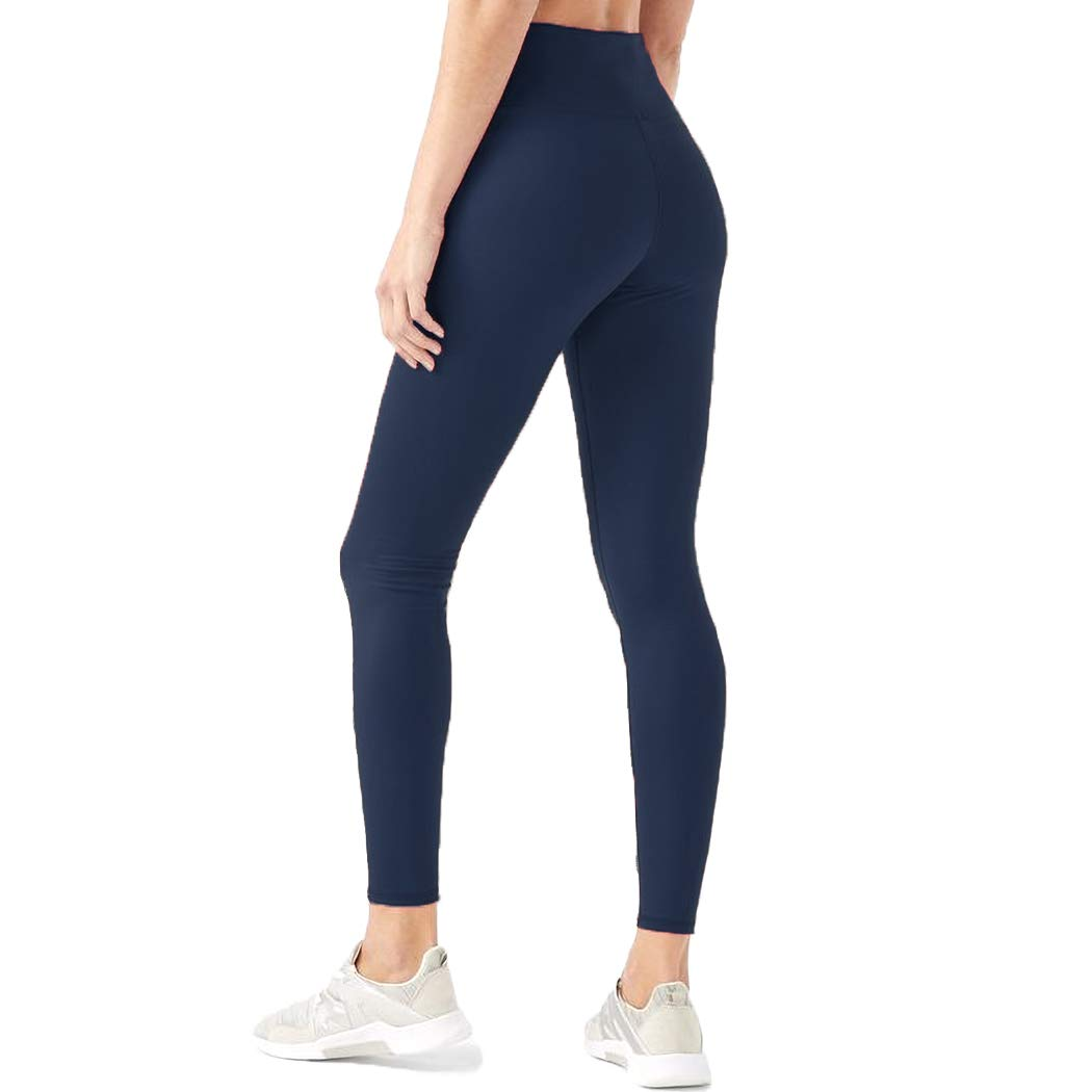 HIGHDAYS Leggings for Women High Waisted Tummy Control Opaque Slim Soft Pants for Cycling, Yoga, Running (Plus Size, Navy Blue) by HIGHDAYS