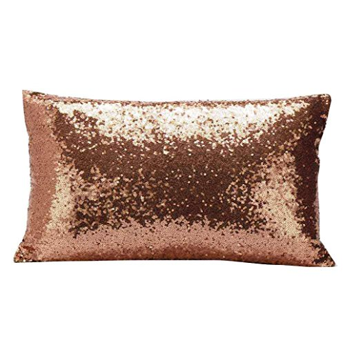 Hot Sale ! 30X50 CM Pillow Case, Ninasill Exclusive New Fashion Sequins Sofa Bed Home Decoration Festival Pillow Case Cushion Cover (Coffee)