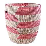 African Woven Storage Hamper - Pink Herringbone