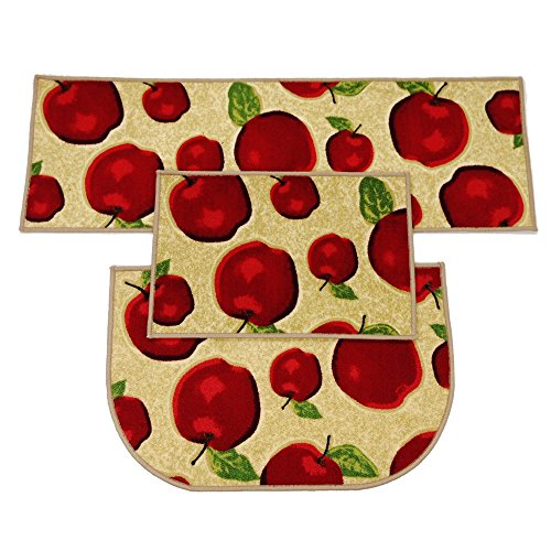 Wolala Home 3 Piece Sets Rubber Backing Non-slip Red Apple Kitchen Rug and Carpet Machine Washable D-ring Doormat Bathroom Foot Pads Thin (3pcs sets, Multi)