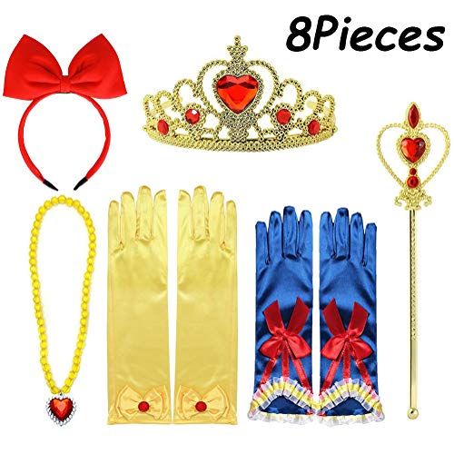 Yosbabe 8Pcs Princess Dress up Accessories for Girls Princess Belle Snow White Party Favors Gifts Set Including Crown Scepter Wand Necklace Gloves Red Bow Headband -