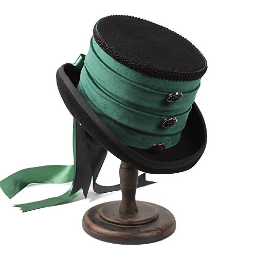 CNBEAU Victorian Steampunk Raven Green Top Hat (Color : 1, Size : 59CM) by CNBEAU
