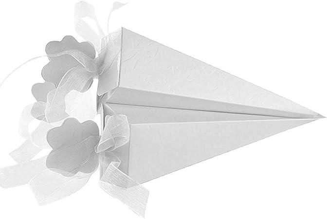 ZITFRI 120pcs Coni Portariso Portaconfetti Matrimonio Coni Portaconfetti Confettata Coni Riso Matrimonio Antimacchia Bianco con Nastro di Chiffon
