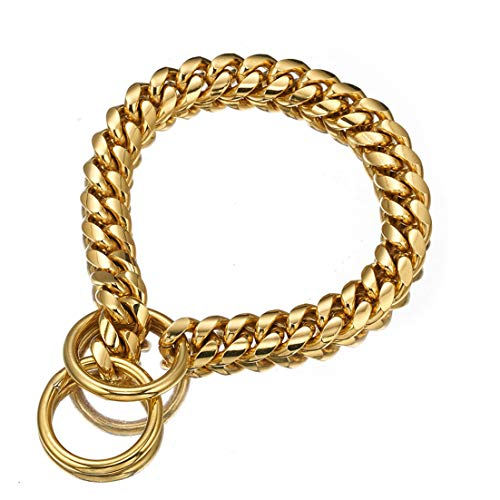 Aiyidi Polished 18K Gold Plated Dog Collar Stainless Steel 12mm, 15mm, 18mm Curb Cuban Chain Collar for Dog's Training, Daily Use (15mm, 26inches)
