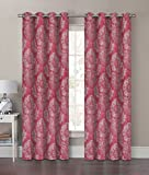2 Piece Dots Printed Blackout Window Curtain Grommet Panels, 50″ X 84″ Total Width 100″ X 84″ (Red) For Sale